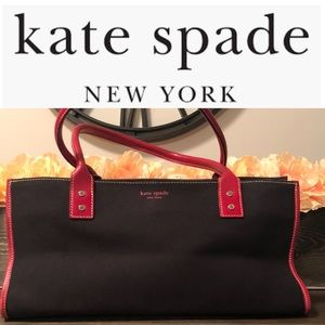 Classic Kate Spade Canvas Tote- Black & Red Purse